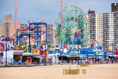 The beach and the amusement park at Coney Island in New York City Royalty Free Stock Images