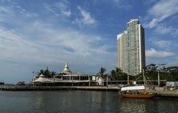 Beach Ancol and scyscraper in sunny day. stock image