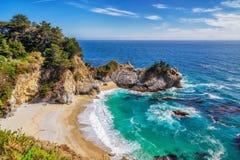 Beach And Falls, Big Sur, California Stock Photos