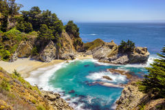 Beach And Falls, Big Sur, California. Long Exposition. Royalty Free Stock Photo