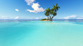 Free Beach And Palms Recliner Blue Sky 3D Rendering Royalty Free Stock Image - 73418926