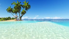 Free Beach And Palms Recliner Blue Sky 3D Rendering Stock Photo - 73420100