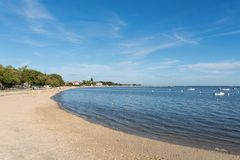 Andernos, on the Arcachon Bay, France. The beach of Andernos, in France, near the Cap Ferret on the Arcachon Bay Royalty Free Stock Images