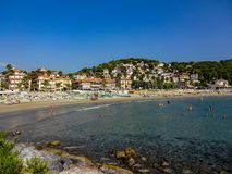 Beach and bay in Andora royalty free stock image