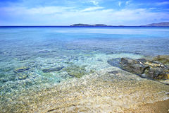 Beach in Andros island Greece Stock Photo