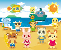 Beach Animal Party Royalty Free Stock Images