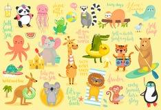 Beach Animals hand drawn style, Summer set. stock illustration
