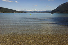 Beach at Annecy lake Royalty Free Stock Images