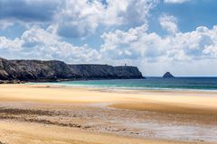 Beach Anse de在Presqu'ile de克罗宗, Parc naturel的Pen Hat 库存照片