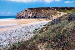 Beach Anse de在Presqu'ile de克罗宗, Parc naturel的Pen Hat 图库摄影