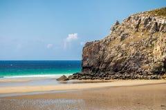 Beach Anse de Pen Hat on the Presqu'ile de Crozon, Parc naturel. Regional d'Armorique. Finistere department, Crozon. Brittany (Bretagne), France royalty free stock photography