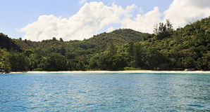 Beach Anse Georgette in Praslin island. stock photo