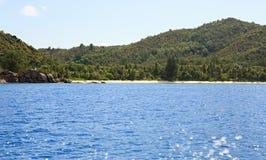 Beach Anse Georgette in Praslin island. Royalty Free Stock Image