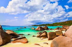 Beach Anse Lazio at island Praslin, Seychelles. Vacation background stock photography