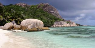 Beach Anse source d'Argent, rocks Royalty Free Stock Images