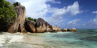 Beach Anse source d'Argent, rocks Royalty Free Stock Image