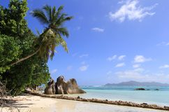 Beach Anse source d'Argent Seychelles Stock Photos