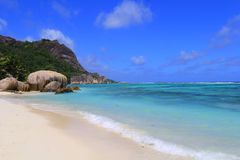 Beach Anse source d'Argent Seychelles Stock Photo