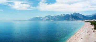Beach at Antalya. Panoramic view of beach at Antalya, Turkey stock photography