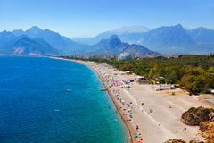 Beach at Antalya Turkey. Travel background Royalty Free Stock Photography