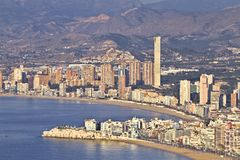 Beach and apartments in Benidorm. Beach and apartments in yhe tourist city  Benidorm. Valencian Community Stock Images