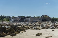 Plymouth Long Beach, MA, USA. The beach is approximately three miles in length. It begins just south of the Eel River bridge on Route 3A, and juts out almost due Stock Photos