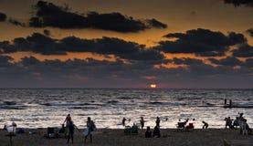 Caesarea in sunset. The beach of the Aquaeductus at Caesarea in sunset Israel Royalty Free Stock Images