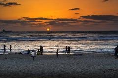Caesarea in sunset. The beach of the Aquaeductus at Caesarea in sunset Israel Stock Photo