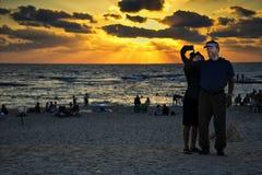 Selfie at Caesarea in sunset. The beach of the Aquaeductus at Caesarea in sunset Israel Stock Photos