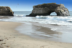 Beach Arch. Natural Bridges State Beach, Calif royalty free stock image