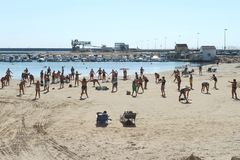 The beach area of the city in Torrevieja. Stock Photos