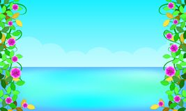 Beach around with leaf flowers beautiful blue sky sea holiday. free copy space for your text.  illustration eps10 royalty free illustration