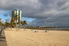 On the beach of Arrecife, capital of Lanzarote, Canary Islands, Spain Stock Images