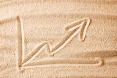 Beach and arrow chart up in the sand. concept of sales growth, growth in prices in the turistic summer season. Beach and arrow chart up in the sand. The concept Royalty Free Stock Images