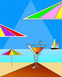 Beach art with triangular elements Stock Images