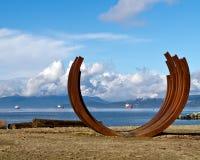 Beach Art, Vancouver. The sculpture Arcs 217.5 x 13, beach art on Sunset Beach facing English Bay in Vancouver, Canada.  Bernar Venet's piece was part of Stock Photo