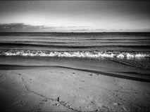 On the beach. Artistic look in black and white. Royalty Free Stock Photos
