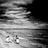 The beach. Artistic look in black and white. Royalty Free Stock Photography
