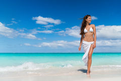 Beach Asian woman in fashion beachwear cover-up skirt clothing Stock Photo