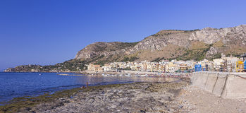 Beach of Aspra-Bagheria (Sicily). Bagheria, Italy - August 8, 2013: People enjoying sunny day on the beach of Aspra-Bagheria (Sicily Stock Image