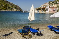Beach of assos on the bay and port of the same name kefalonia stock photography