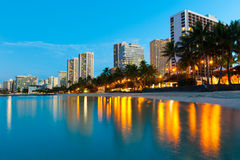 Beach At Waikiki With Buildings And Reflections Stock Image