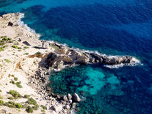 Beach of Atlantis Ibiza. Beach of Atlantis, Ibiza from the air Royalty Free Stock Photography