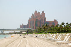 The beach of Atlantis the Palm hotel Stock Image