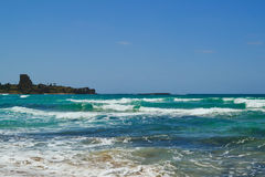 Beach in Atlite, views of Caesarea Stock Photography
