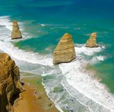 Beach in Australia - Great Ocean Road. Three. The picture shows a shore of a beach in Australia. The picture was taken in 2013. Great Ocean Road. Formations royalty free stock photo