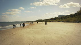 Beach during autumn season on the Baltic sea stock video