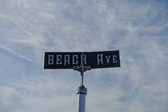 Beach Ave sign in Cape May Royalty Free Stock Images