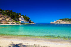Beach and azure sea in Port de Soller Royalty Free Stock Photography