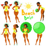 Beach Babe - clip-art. Beach Babe - collection of pretty girls in swimwear Stock Images